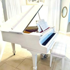 Gorgeous White baby grand piano